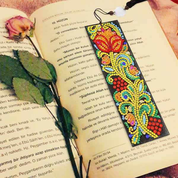 DIY Special Shaped Diamond Painting Delicate Flower Leather Tassel Bookmark