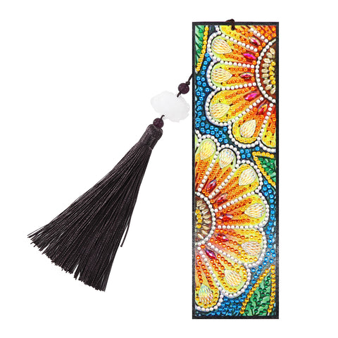 DIY Special Shape Diamond Painting Leather Bookmark Embroidery Craft Tassel