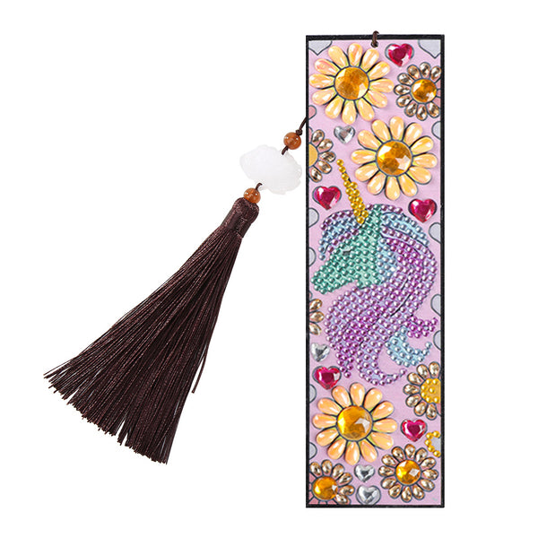 DIY Special Shaped Diamond Painting Flower Leather Bookmark Tassel Craft