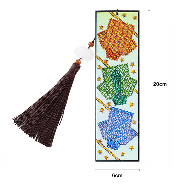 DIY Special Shaped Diamond Painting Clothes Leather Bookmark Tassel Marker