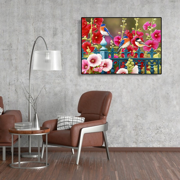 Birds Flower- Full Round Diamond Painting