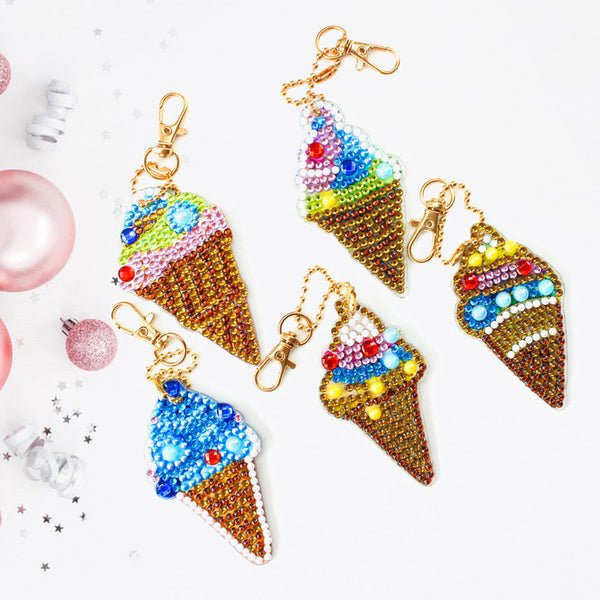 5pcs DIY Ice Cream Diamond Painting Full Drill Special Shaped Keychains