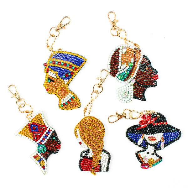 5pcs DIY Elegant Lady Full Drill Special Shaped Diamond Painting Keychains