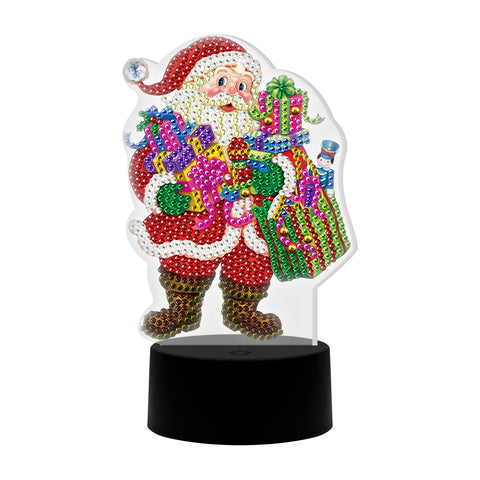 DIY Diamond Painting LED Light Special Shaped Santa Claus Embroidery Lamp