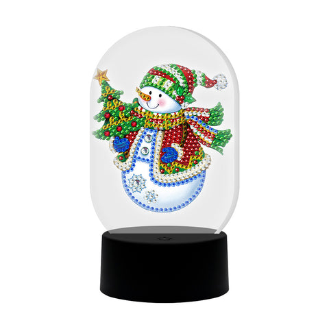 DIY Diamond Painting LED Light Snowman Special Shaped Embroidery Lamps