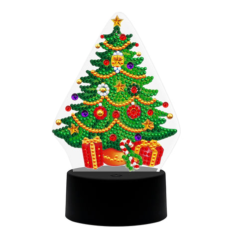 DIY Diamond Painting LED Light Christmas Tree  Special Shaped Embroidery Lamps