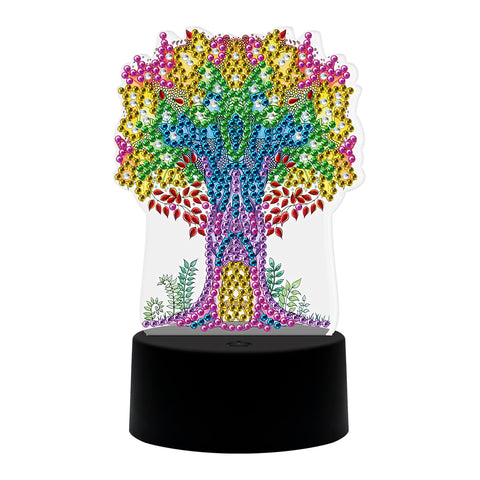 Special Shaped Diamond Painting Light DIY Colorful Tree Embroidery LED Lamp