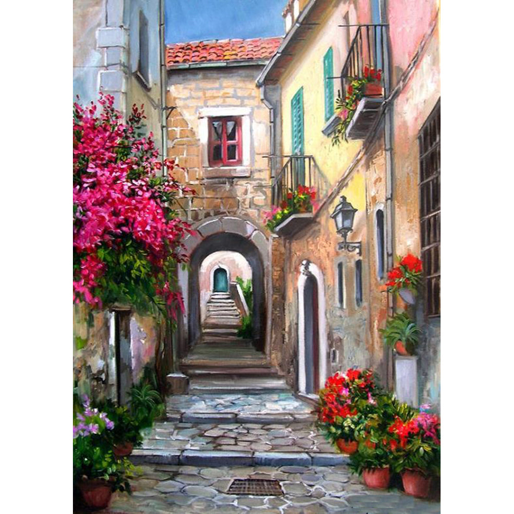 Flower Alley - Full Round Diamond Painting
