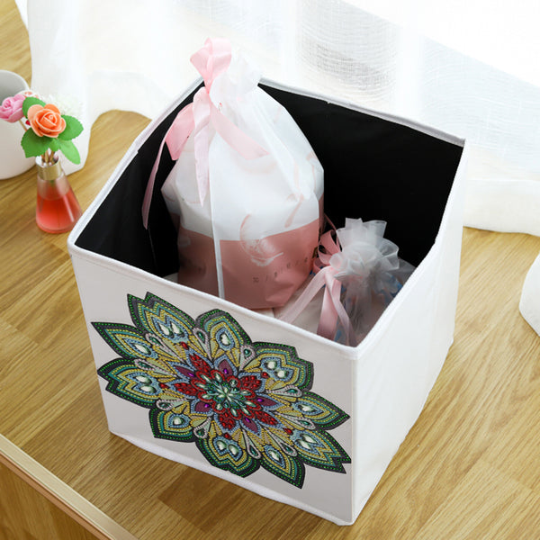 DIY Diamond Painting Flower Folding Storage Box Desktop Sundries Organizer