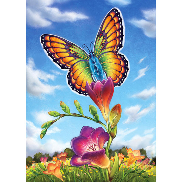 Flower Butterfly - Full Round Diamond Painting