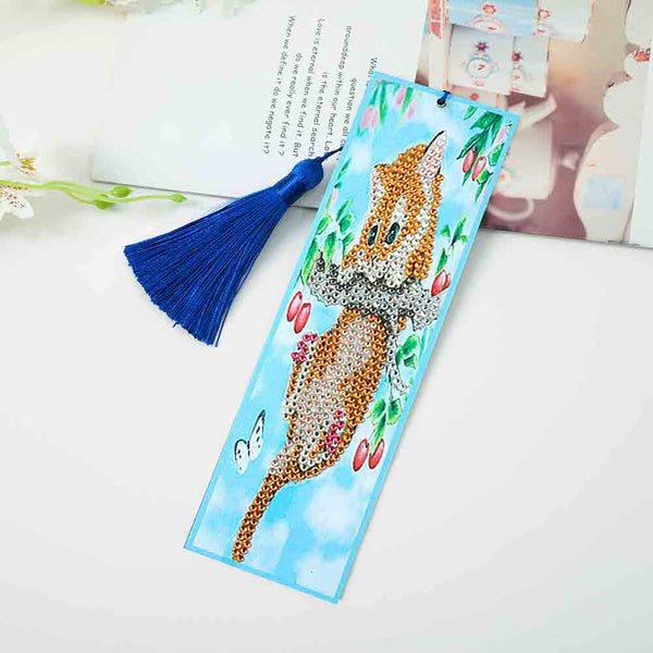 5D Diamond Painting Climbing Cat Cross Stitch Bookmark Leather Page-marker