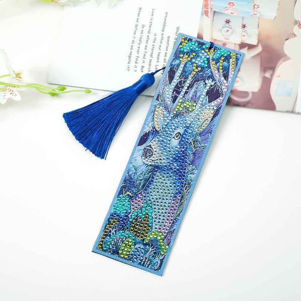 Diamond Painting Deer Cross Stitch Bookmark Page Holder Leather Page-marker