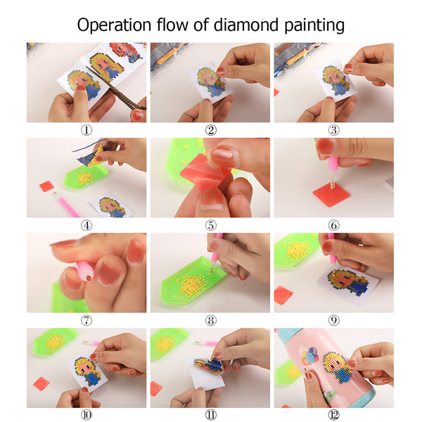 5pcs Animals DIY Kids Round Drill Sticker Diamond Painting Phone Cup Paster