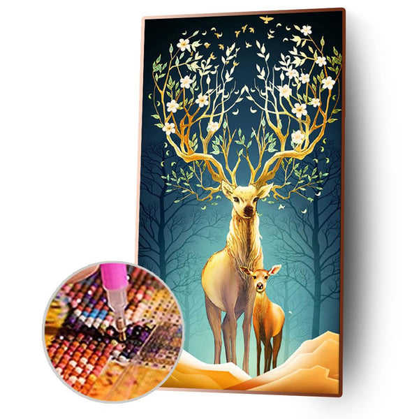 Flower Deer - Full Round Diamond Painting(85x45cm)