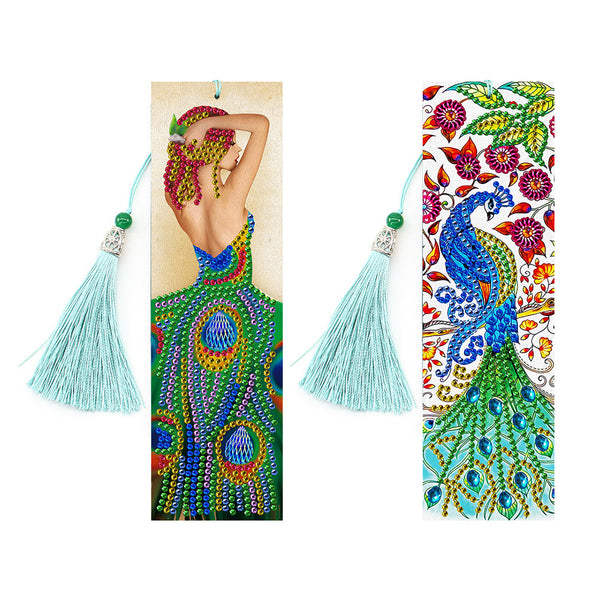 2pcs 5D Special Shape Diamond Painting Bookmark Mosaic Leather Page-Marker