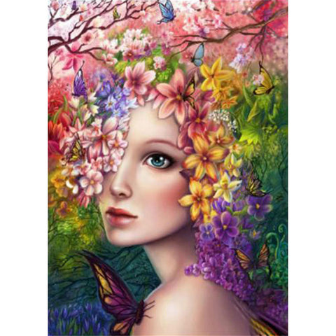 Flower Girl - Full Round Diamond Painting