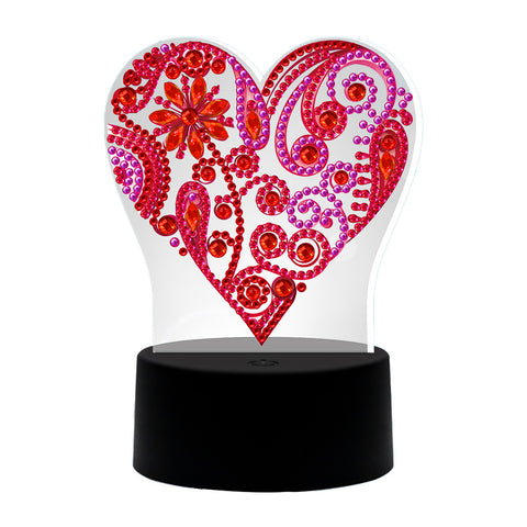DIY Diamond Painting Heart LED Light Special Shaped Embroidery Rhinestones