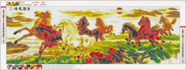 Horses - Full Round Diamond Painting(80*30cm)