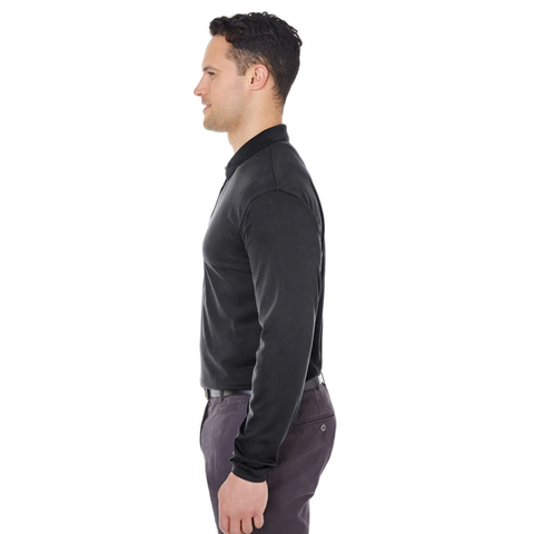 Men's Long Sleeve Performance Polo w/ Purple Horse Logo