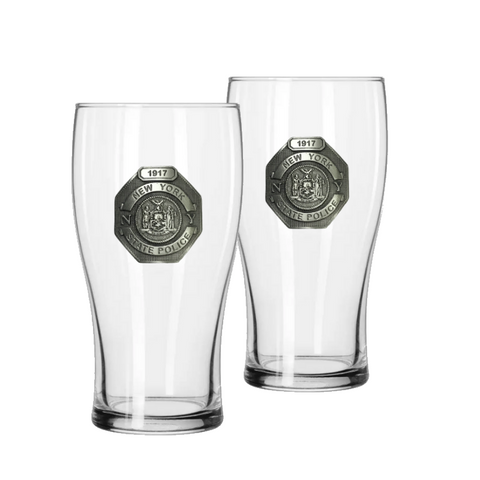 NYS Police Shield Pub Glass