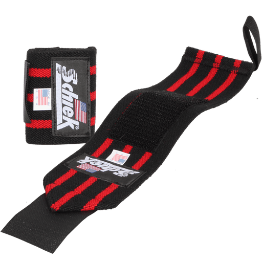 "12"" Heavy Duty Wrist Wraps – Black/Red"