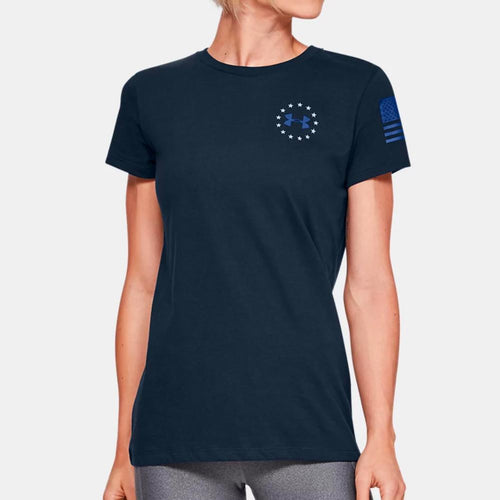 Under Armour Ladies Freedom Banner T-Shirt (Navy)