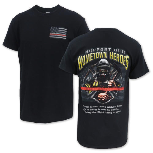 Support Our Hometown Heroes Firefighter T-Shirt (Black)