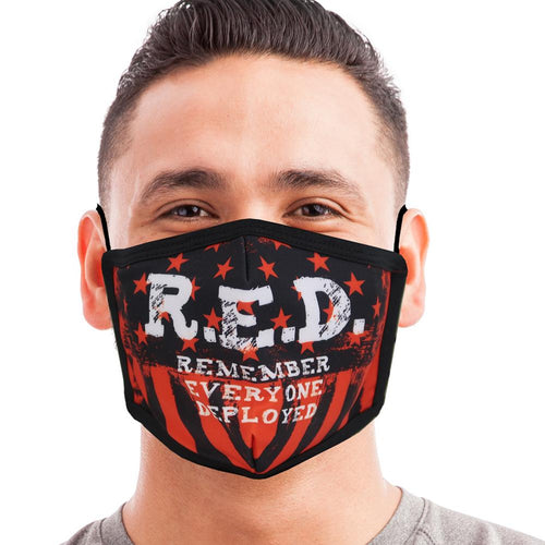 R.E.D. Remember Everyone Deployed Face Mask-Single Or 3 Pack