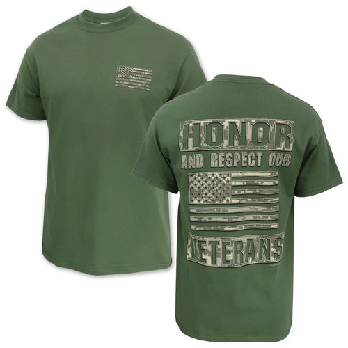 Honor And Respect Our Veterans Camo T-Shirt (OD Green)