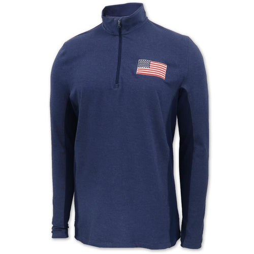 American Flag Under Armour Charged Cotton 1/4 Zip (Navy)