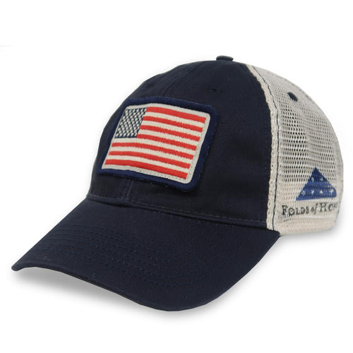 FOLDS OF HONOR USA FLAG LOW PROFILE TWILL TRUCKER HAT (NAVY) 3