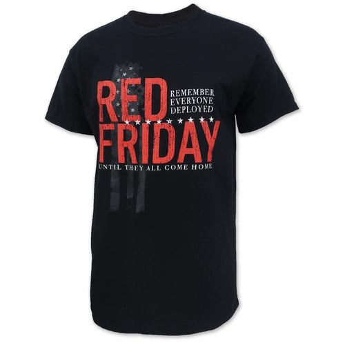 RED FRIDAY VERTICAL FLAG T-SHIRT (BLACK)