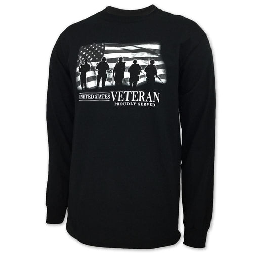 UNITED STATES VETERAN PROUDLY SERVED LONG SLEEVE T-SHIRT (BLACK) 1