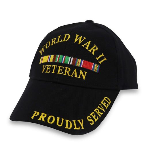 WORLD WAR II VETERAN PROUDLY SERVED HAT (BLACK)