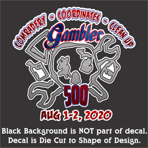 "Gambler Aug 1-2, 2020  Decal (5""x4.5"", 7""x6.5"", & 10""x9.5"")"