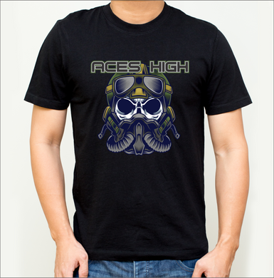 Aces High - Pilot Skull T-Shirt