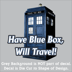 "Blue Box Traveler Decal (4""x4"", 6""x6"", & 10""x10"")"