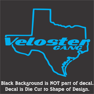 Texas Veloster Decal - Classic Design (12 Colors-3 Sizes)