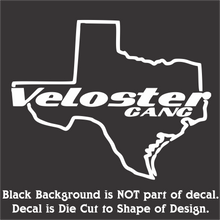 Load image into Gallery viewer, Texas Veloster Decal - Classic Design (12 Colors-3 Sizes)