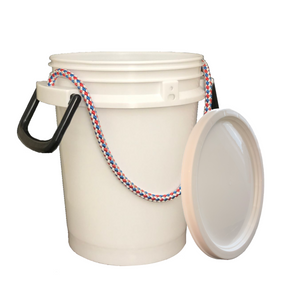iSmart Bucket - 5 Gallon Rope Handle Bucket with Lid, White Color