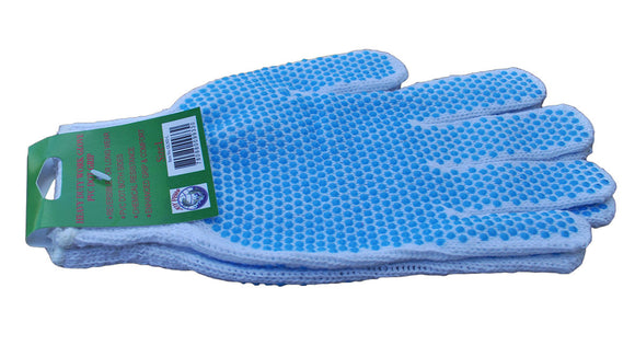 White Work Glove with Blue Dots – Dozen