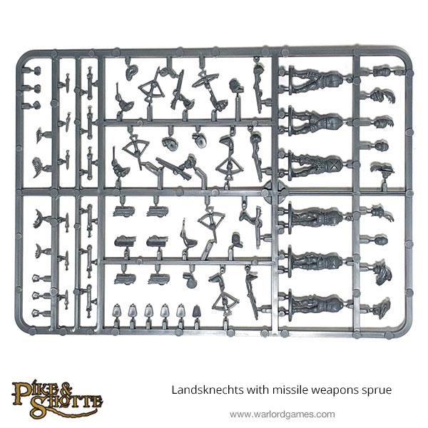 Landsknechts with missile weapons sprue