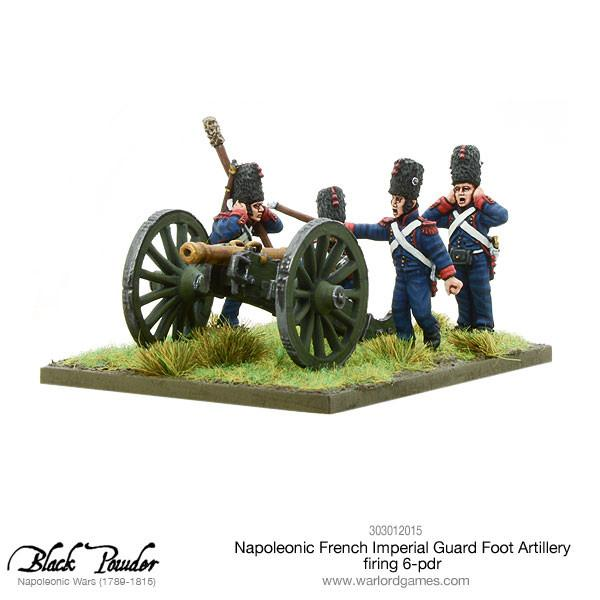 Napoleonic French Imperial Guard Foot Artillery firing 6-pdr