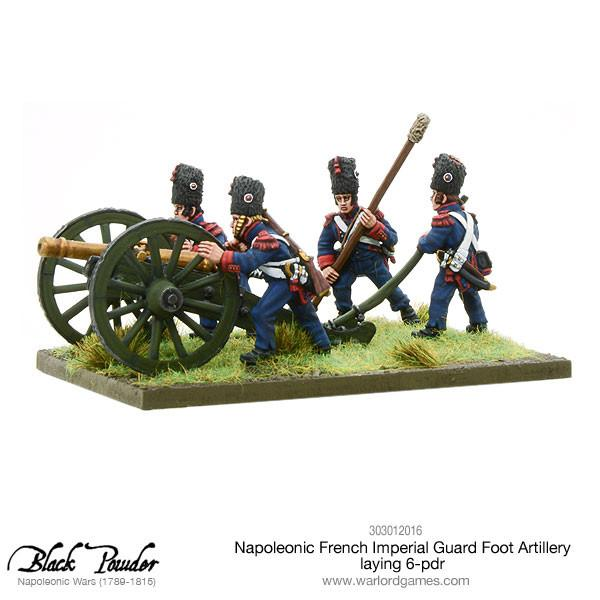 Napoleonic French Imperial Guard Foot Artillery laying 6-pdr