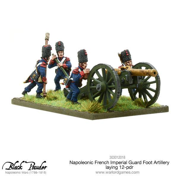 Napoleonic French Imperial Guard Foot Artillery laying 12-pdr