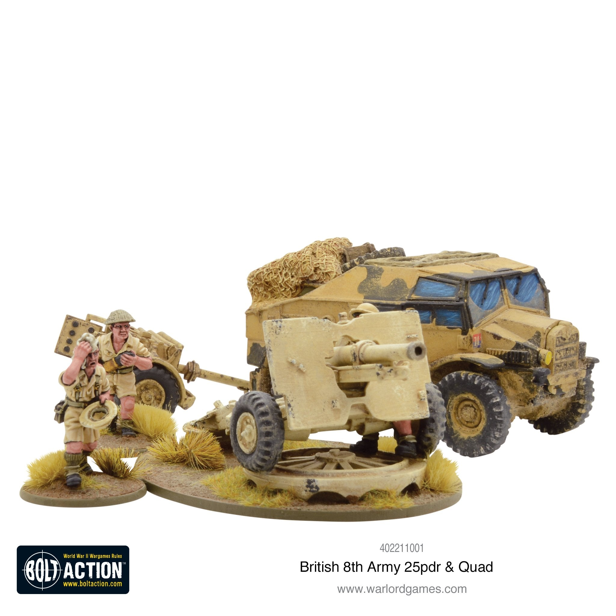 8th Army 25 pounder Light Artillery, Quad & Limber