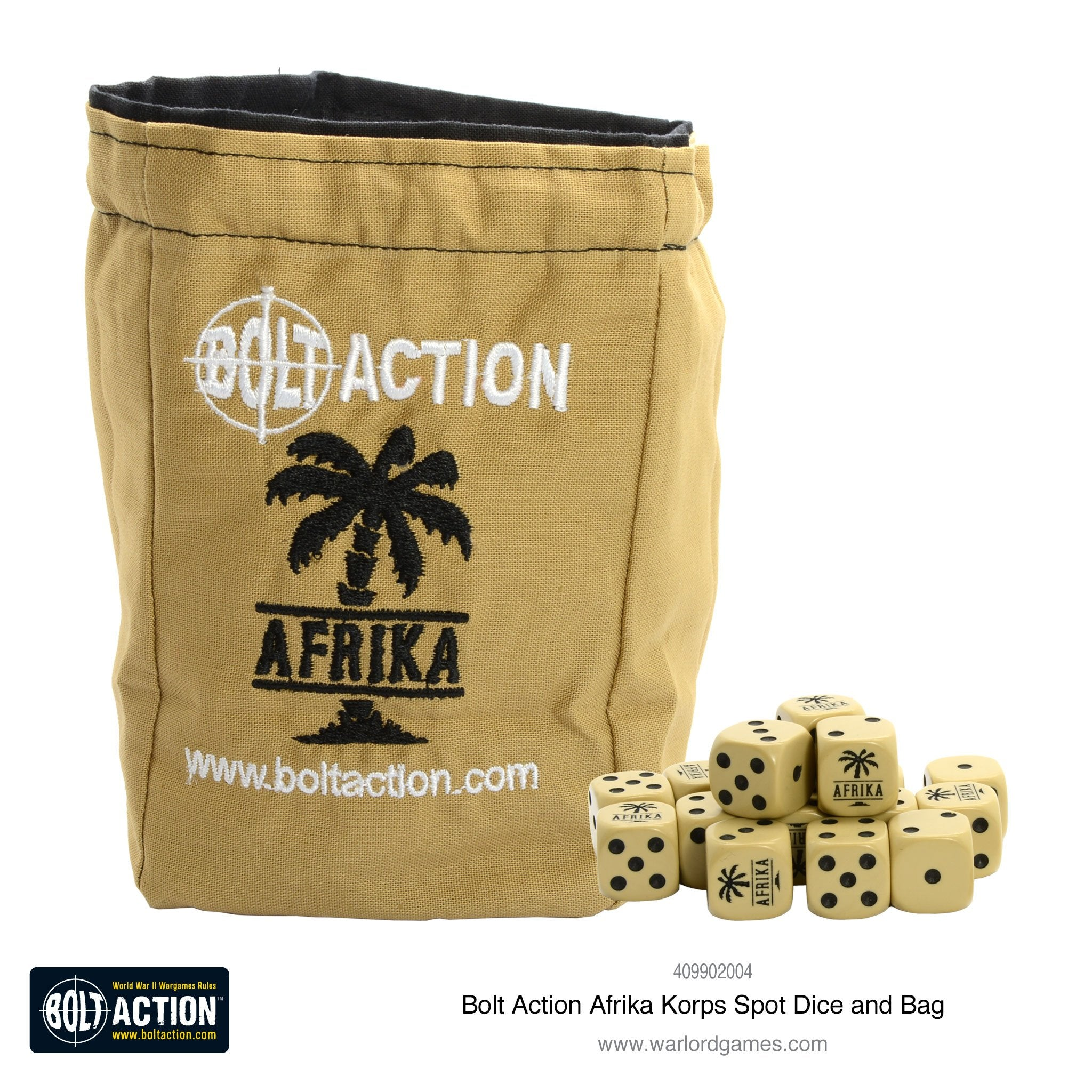 Afrika Korps D6 and dice bag