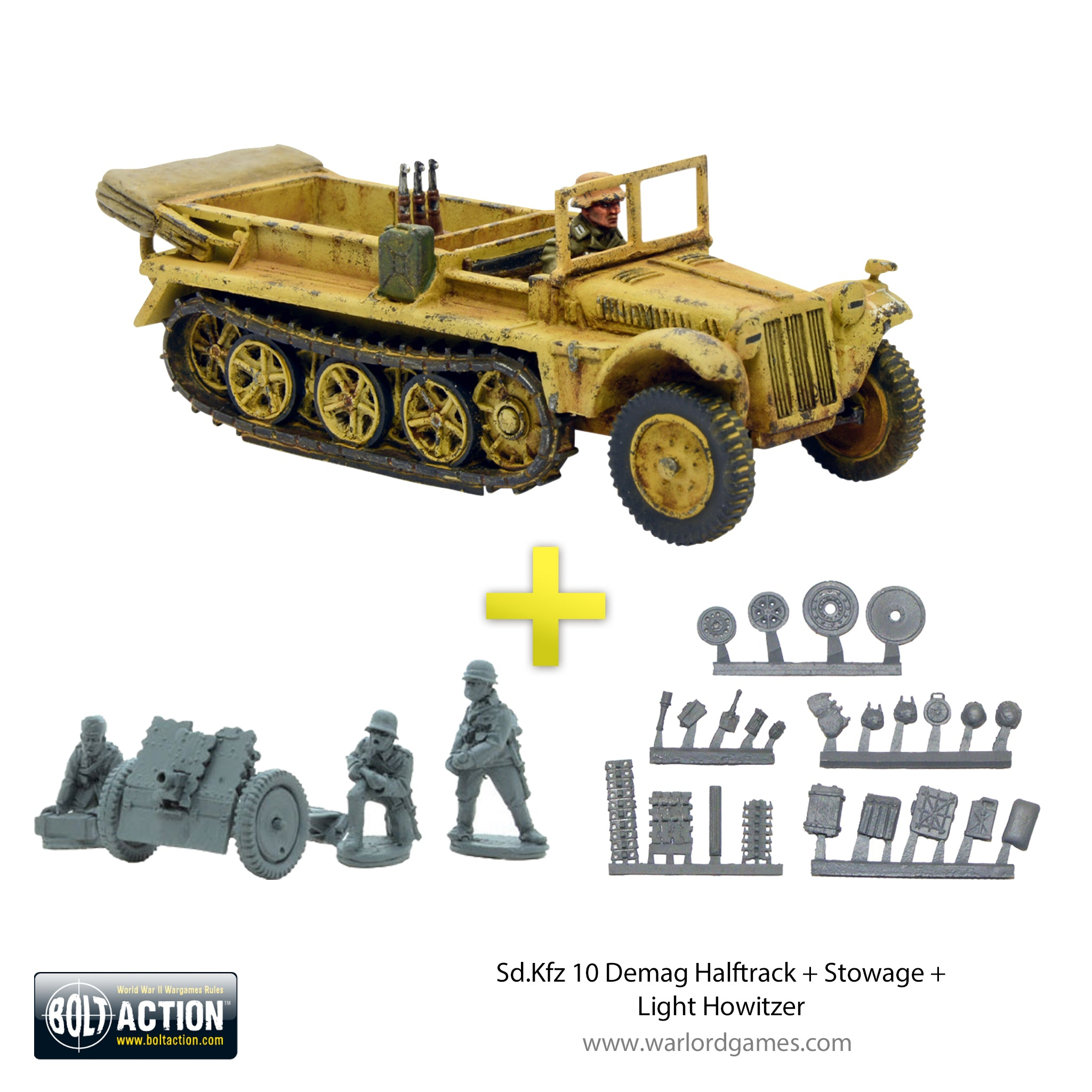 Bolt Action Stowage Light Howitzer Warlord Gam Sd.Kfz 10 Demag Halftrack