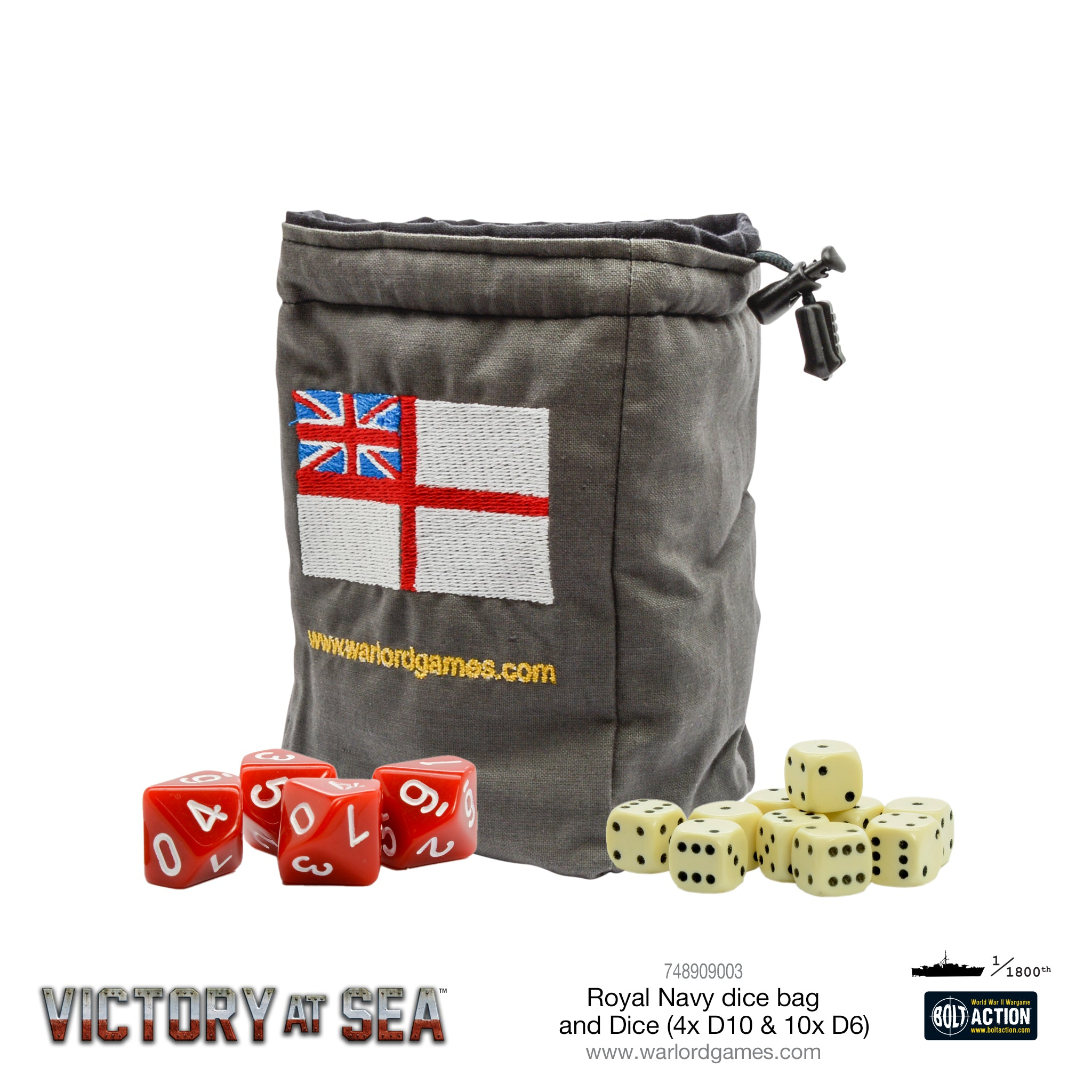 Victory at Sea - Royal Navy Dice and Dice Bag