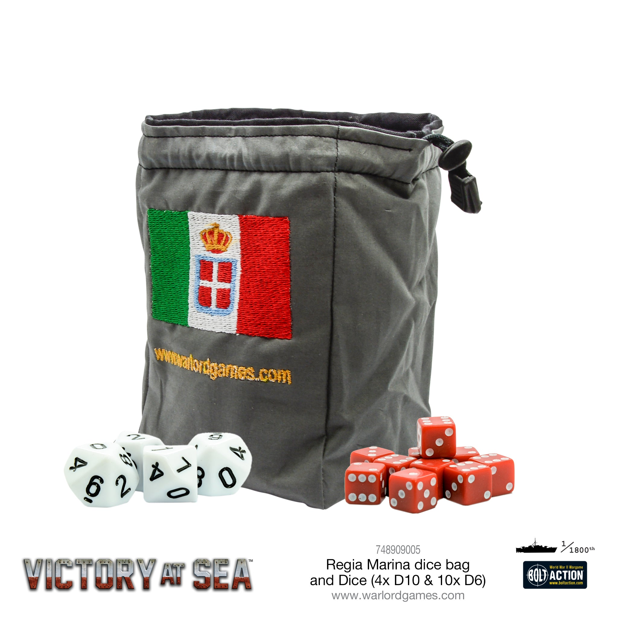 Victory at Sea - Regia Marina Dice and Dice bag